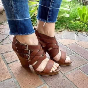 Madewell Basket Weave Heeled Sandals Brown 8.5